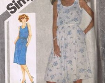 Simplicity 9896 Misses' Jiffy Pullover Dress w/ Slim or Full Skirt - Size 10 - Uncut, Factory Folded