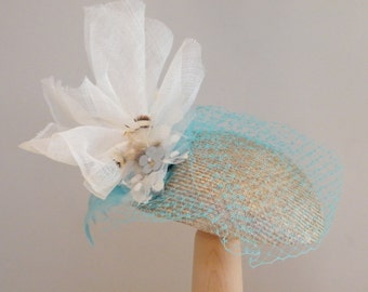 Kate Middleton Turquoise cocktail hat, elegant summer hat, Ascot hat for a special event, retro fascinator,  Rana Hats Israel OOAK