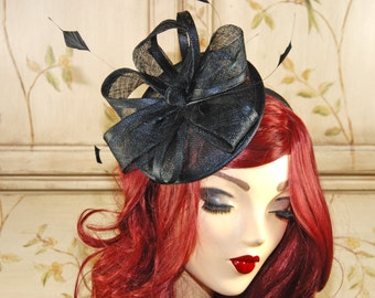 Black Fascinator Hat - Black Tea Party Hat - Black Wedding Fascinate Hat - Black Mini Fancy Hat with Feathers, fascinator headband
