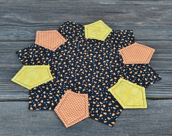 Halloween Table Topper, Fall Autumn Table Mat, Candy Corn Dresden Plate Quilted Candle Mat Holiday Home Decor, Black Orange Yellow Polka Dot