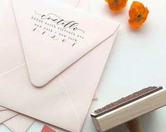 Custom Calligraphy Address Stamp - Return address - Whimsical Calligraphy Waves - Wayward Style - Wood or self ink stamp - DIY invitations