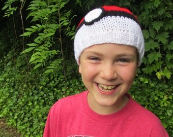 Cool gamer hat!  Catch 'em all!  Hand knit pokemon -inspired cap for top trainers of evee, pikachu, squirtle, charmander, or geodude (etc!)