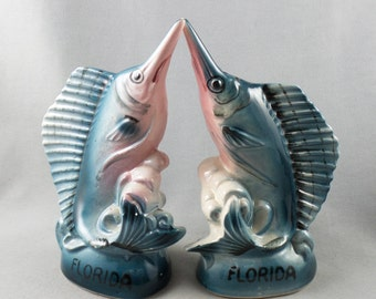 Vintage Marlin Souvenir Florida Ceramic Salt and Pepper Shaker Set