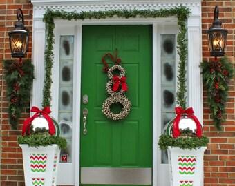 Christmas Wreath - Snowman Wreath - Chevron Wreath - Christmas Decoration