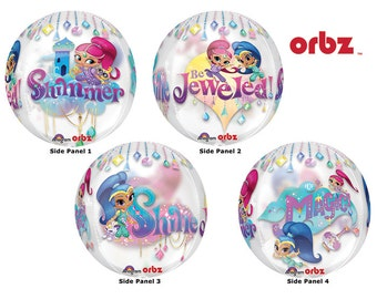 """16"""" Orbz Shimmer and Shine Balloon Party Decorations Favors Centerpiece 4 sided design"""