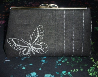 Evening Clutch Black with embroidered  metalic silver butterfly