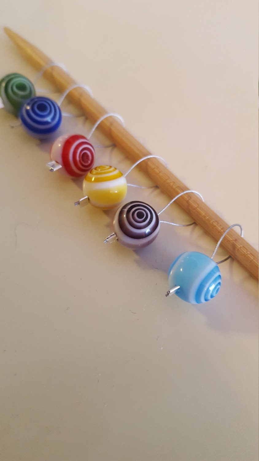 Knitting Markers Etsy : Round ball knitting stitch markers from evidentlymotley on