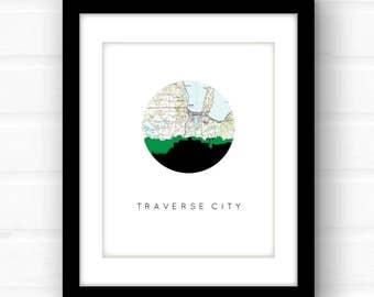 Traverse City Michigan art print | Traverse City souvenir | Michigan wall art | Michigan art print | city skyline art | Michigan home decor
