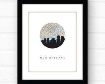 New Orleans art | New Orleans print | New Orleans map | city skyline print | skyline art | Louisiana map | travel poster | vintage map art