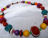 Colorful necklace beads statement jewelry resort red green yellow pink green multicolor pool party sundress fiesta festive chunky vacation