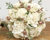 Rose Gold Wedding Bouquet - Dried flowers, Pink, Cream, Blush, Green, Sola *Rose Gold Collection*