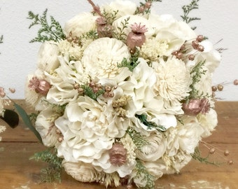 Rose Gold Wedding Bouquet - Preserved & Dried flowers, Pink, Cream, Blush, Green, Sola - ROSE GOLD COLLECTION