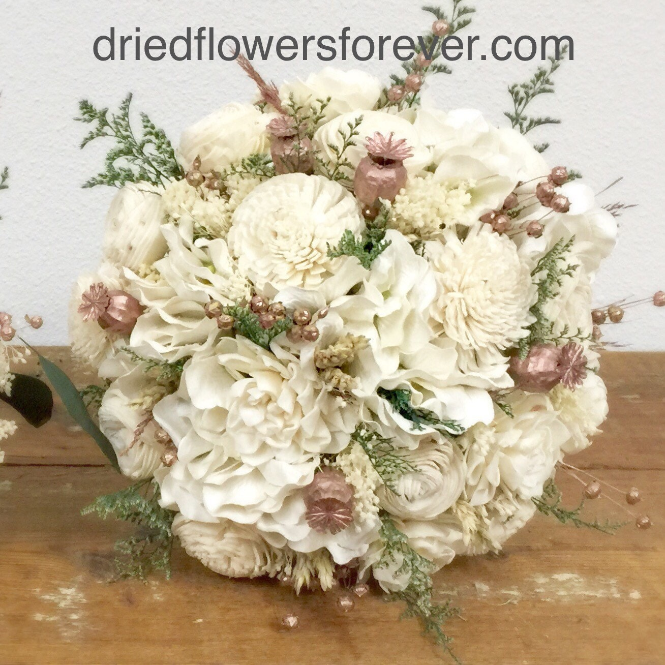 Rose Gold Wedding Bouquet Preserved Dried Flowers Pink