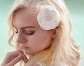 Wedding hair flower - Hair flower - Vintage hair flower - Bridal hair piece - Ivory hair flower - Bridal hair flower - Satin fabric flower