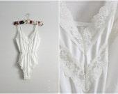 70s Teddy Nylon Lace Bodysuit. Teddy Lingerie. Wedding nightgown. Size S/M