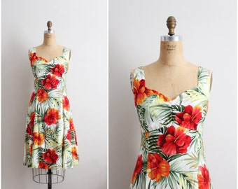 Vintage Two Palms Tropical Dress / Rayon Dress / Hawaiian Dress/ Size M/L