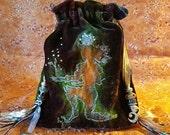 Brown Velvet Drawstring Bag, Earth element, Tree Spirit, Tarot Bag, Faerie, Magick, Rose Quartz, Rhinestone Moon Charm,Crystal, lined bag