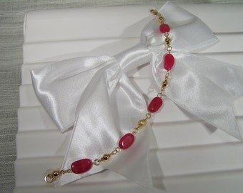 Pink Rubies and 24kt Gold Chain Bracelet 233BA