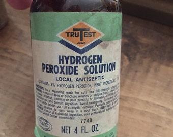 Vintage peroxide medical pharmacy bottle old medical doctor bottle