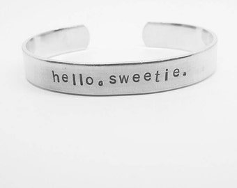 hello, sweetie: hand stamped Dr. Who/River Song handstamped aluminum cuff bracelet