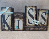 Always KISS Me Goodnight Word Block Sign