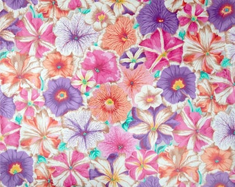 20 x 20 LAMINATED cotton fabric (similar to oilcloth) Petunias pastel - BPA free Jacobs - Approved for children's products