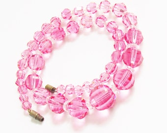 Vintage Pink Crystal Bead Necklace 1960s Mid Century Jewelry