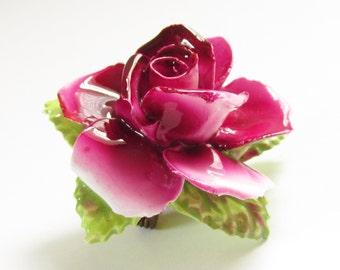 Vintage Purple Red Porcelain Rose Flower Brooch Thorley Bone China