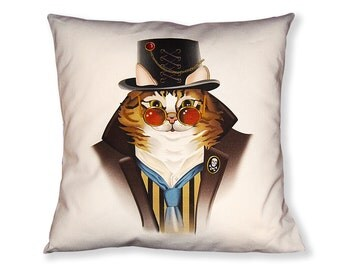 Maine Coon Cat Steampunk Pillow Cover - Black Brown White - Steampunk Cat - Square Pillow
