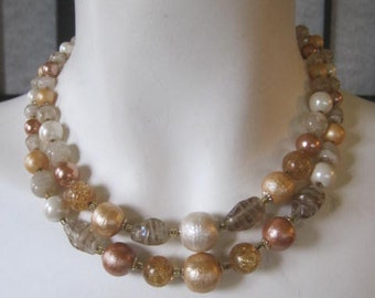 Vintage 1950s 1960s 2 Strand Necklace Copper Amber Goldtone Pearlized Look White Plastic Bead Faux Pearl