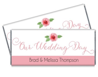Wedding Candy Bar Wrappers - Our Wedding Day Wedding Party Favors - Set of 12