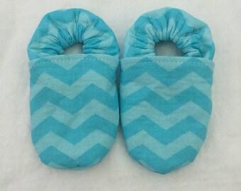 Blue Chevron Baby Shoes