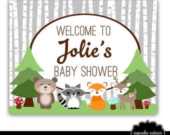 Woodland Animals Baby birthday Sign 8.5 x 11 Size - CUSTOM  PRINTABLE U Print