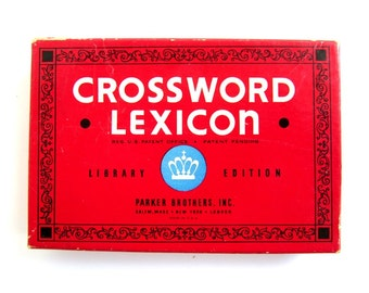 Vintage Crossword Lexicon 1938 Parker Brothers, Inc. Card Game Original Box Rules Cards