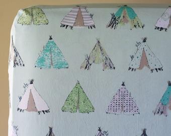 Baby Boy Nursery Bedding, Panda Crib Bedding, Tee Pee Changing Pad Cover, Teepee Fitted Crib Sheet, Tribal Baby, Pandalicious Gansu Village