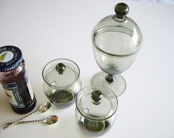 Vintage, Glass Condiment Set, MCM, Scandinavian, Danish Modern, Jam Jar, Pickle Jar, Smoke Crystal, Midcentury Modern, Rare, Mid Century