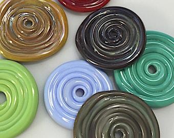Medium glass Disc bead by Thornburg Bead Studio - artisan handmade lampwork beads - made to order