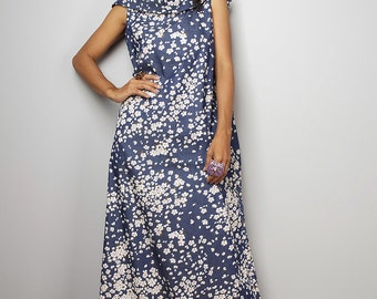 Denim Maxi Dress / Sleeveless Blue Floral Dress with hood  : The Soul of the Orient Collection No.4