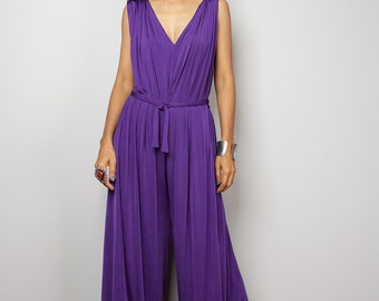 Jumpsuit / Pruple Jumper - Purple Sleeveless Jumper Dress : Classy Evening Dress Collection