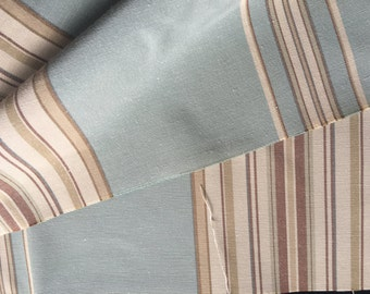 Vintage Striped  Drapery Fabric Upholstery Fabric, Pillow Fabric Yardage Pale Green, Tan and Ivory Fabric, Vintage Textiles