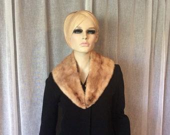 Vintage Blonde Light Brown Mink Collar, Vintage Fur Collar,  Fifties Fur, 1950's Fur,  Brown Mink Fur, Fur Collar For Sweater or Jacket