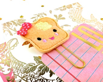 Planner Clips. Cute  Butter Toast Paper Clip Feltie | Fun Party Favors. Cute Fridge Magnet or Bookmark. Journal Calendar. Cute Lapel Brooch