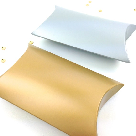 Gold Pillow Favor Boxes : Gold pillow boxes silver box small favor gift and