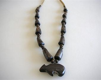 Antler Necklace Carved Bear Fetish Necklace Boho Style RaRe Genuine Carved Sacred Bear Pendant Antler Beads - FREE US SHIP