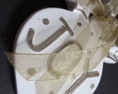 Christian Christmas Ornament - JOY - White and Gold - Handpainted w/ Polka Dots and Gold Sheer Ribbon
