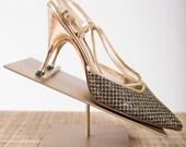 Vintage 1950s Heels Gold Lame 50s Vintage Slingback Pumps with Glitter
