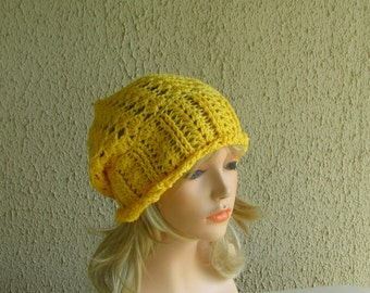 Yellow slouchy hat, Slouchy hat, Slouchy beanie, Crochet hat, Yellow Hat, Winter Hat, Yellow knit hat, Hats and Caps, Winter Accesssories