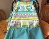 Boy Baby Car Seat Cover Aqua Gray Owls with Aqua Minky
