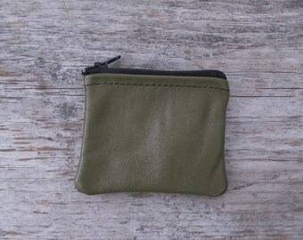 Small Zippered Coin Pouch - Repurposed Olive Green Leather