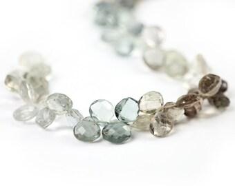Natural Zircon Faceted Heart Briolettes 4 Blue Brown Pale Green Semi Precious Gemstones